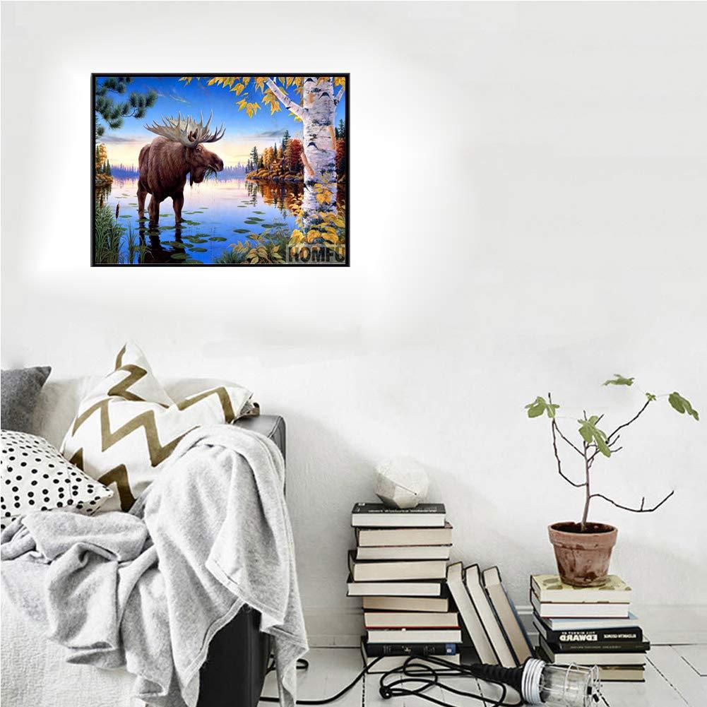 5D DIY Diamond Painting Kits Full Drill Diamond Painting Wall Decor Rhinestone Embroidery Bull Moose 15.7x11.8in 1 By Unkey