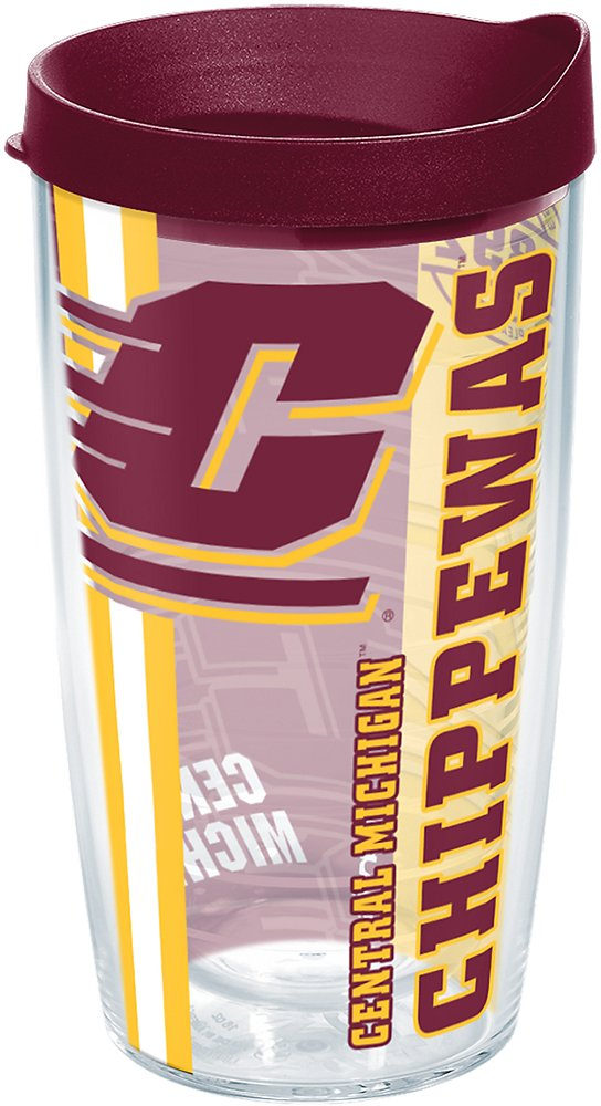 Tervis 1226199 Central Michigan Chippewas College Pride Tumbler with Wrap and Maroon Lid 16oz Clear