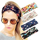 4 Pack Women Headband Boho Floal Style Criss Cross Head Wrap Hair Band Set1