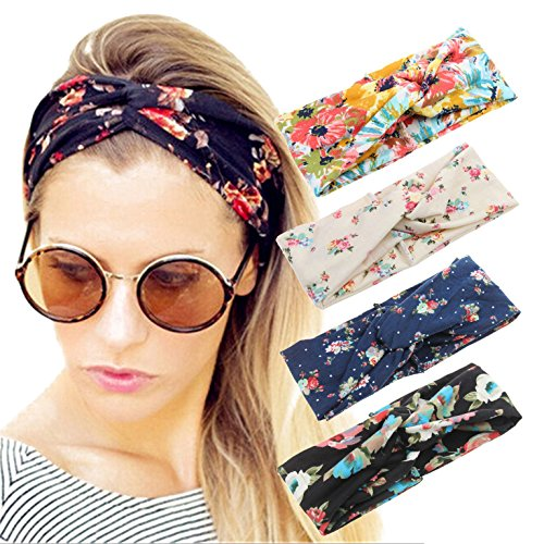 4 Pack Women Headband Boho Floal Style Criss Cross Head Wrap Hair Band - Women For Styles