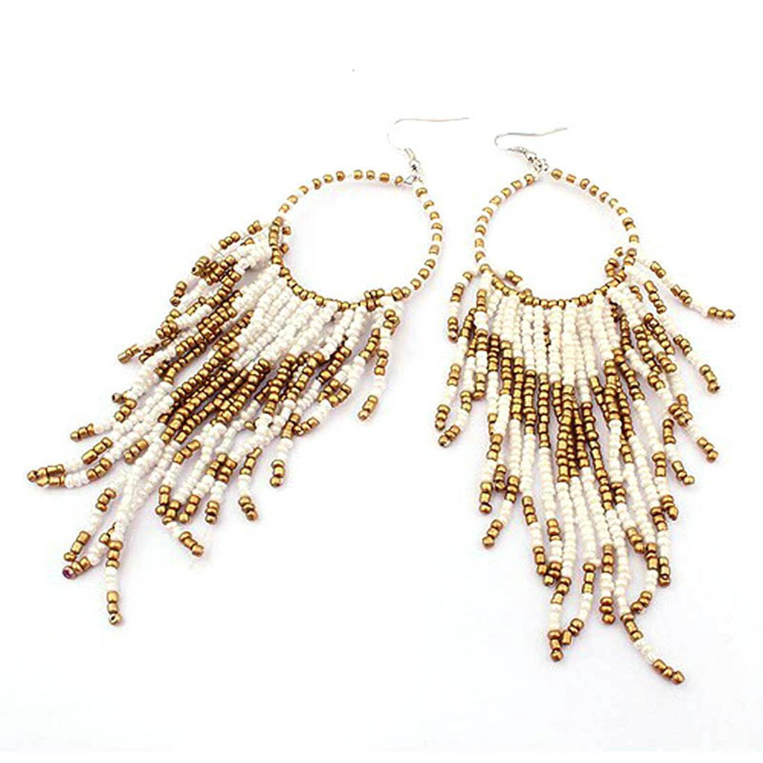 Coromose Bohemian Fringed Long Section Of Big Beads Pendant Drop Earrings