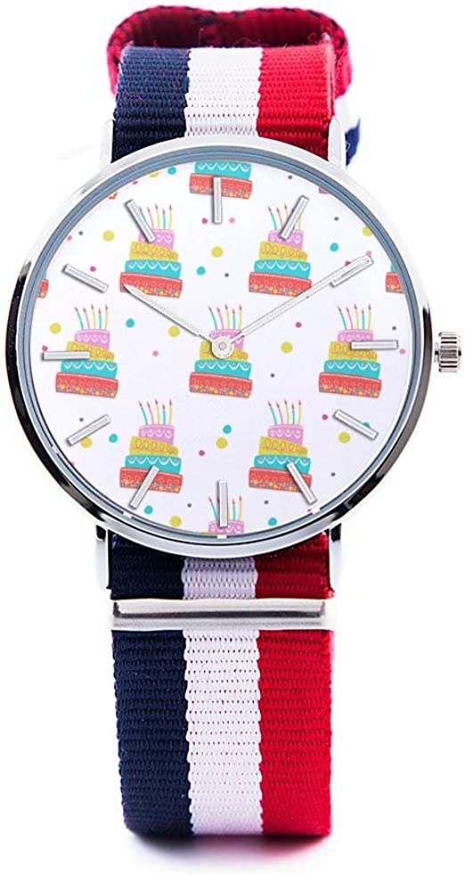 Excellent Amazon Com Unisex Fashion Watch Birthday Cake Dessert Baking Gift Personalised Birthday Cards Arneslily Jamesorg
