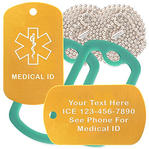 Custom 2 Pack - Seizures Medical Alert ID Necklaces with Gold Custom Tags, Green Dark Silencers, and 30'' USA - Gold Grd