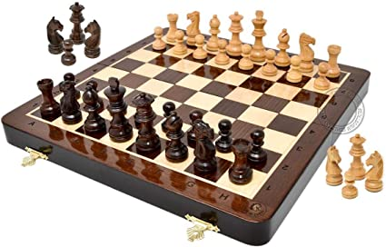 Large Chess Wooden Set Folding Chessboard Magnetic Pieces Wood Board Gift