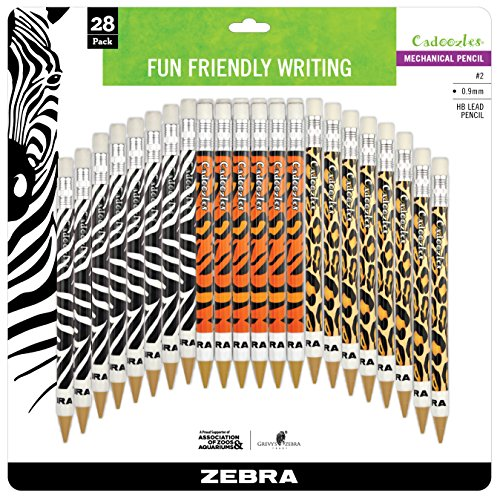 Zebra Pen Cadoozles Mechanical Pencil, 0.9mm Point Size, Standard HB Lead, Assorted Animals Barrel Patterns, 28-Count