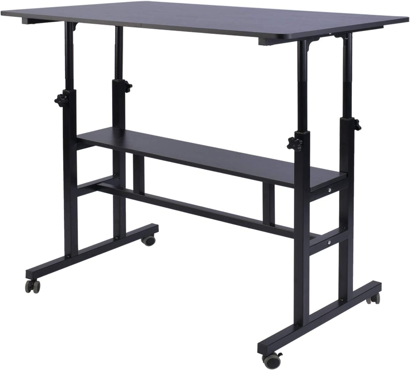 "AIZ Mobile Standing Desk, Adjustable Computer Desk Rolling Laptop Cart on Wheels Home Office Computer Workstation, Portable Laptop Stand Tall Table for Standing or Sitting, Black 31.5"" x 19.7"""