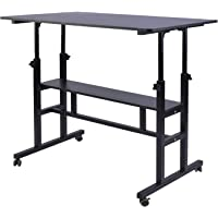 AIZ Mobile Standing Desk, Adjustable Computer Desk Rolling Laptop Cart on Wheels Home Office Computer Workstation…