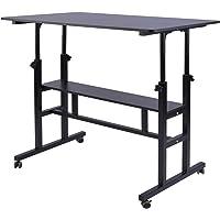 AIZ Mobile Standing Desk, Adjustable Computer Desk Rolling Laptop Cart on Wheels Home Office Computer Workstation…