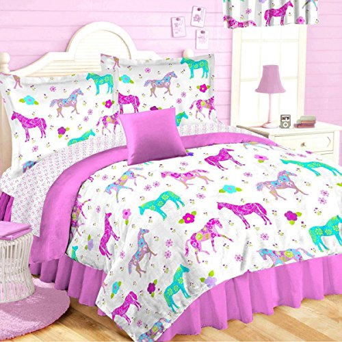 girls 8pc twin size pink pony horse room ensemble comforter sheet set toss pillow window valance bed in a bag - Horse Bedding