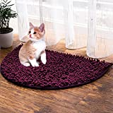 RayCC Soft Cat Mat Pet Absorbent Microfiber Chenille Rug Prevents Kitty Litter Scatter Semicircle Cat Food Mat (24'' x 16'',Purple)