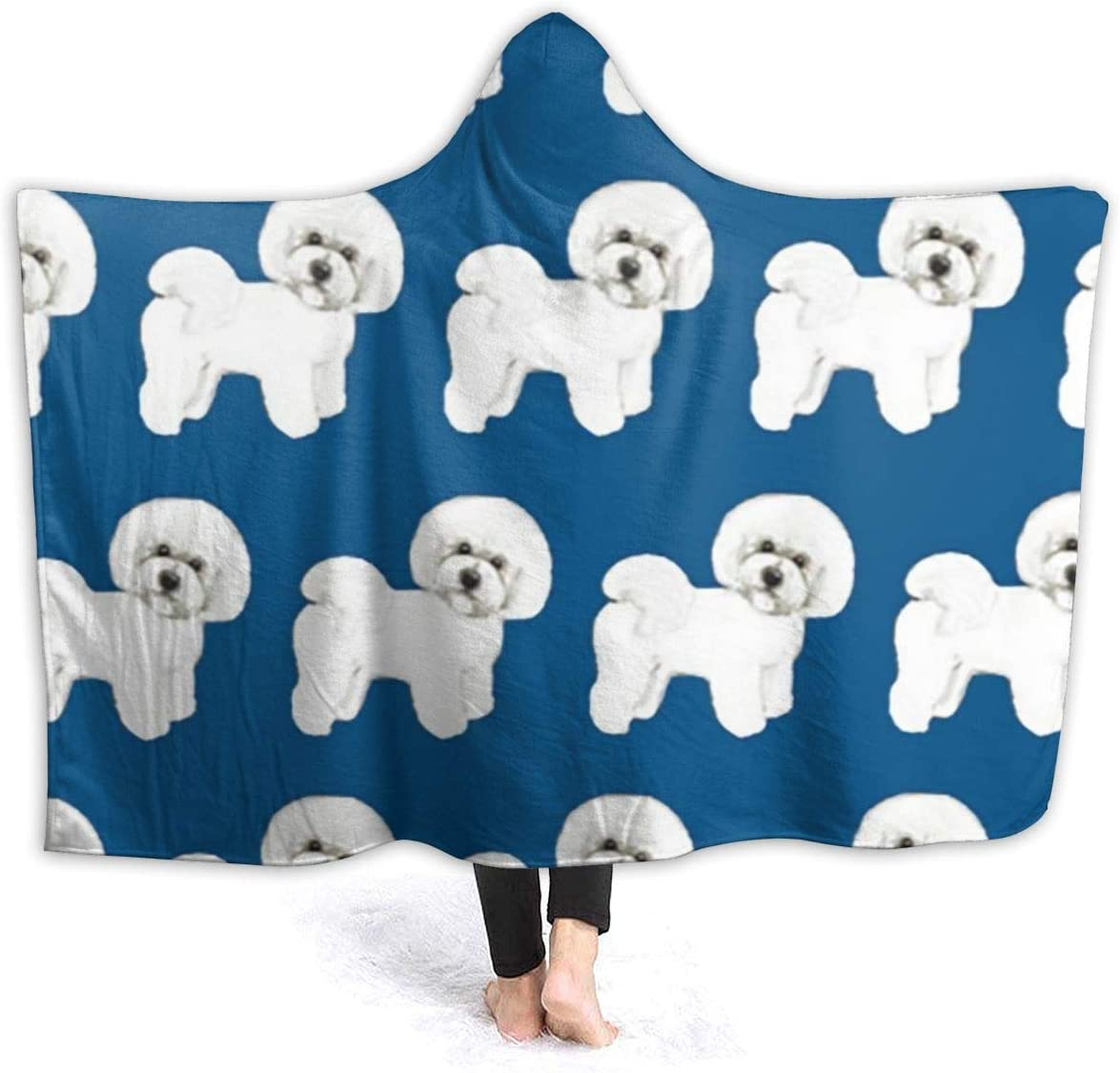 OUCUCK Mantas para Cama, Blue Bichon Frise Micro Fleece Blanket Throw Twin Travel Size Extra Hoodie Cloak-Fall Winter All Season for Indoor Outdoor Gifts Size 50x40 in, 60x50 in, 80x60 in