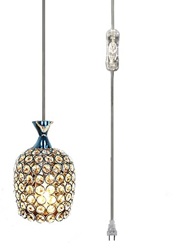 Hsyile KU300177 Plug in Pendant Light,Caged Crystal Shade,On Off Switch in Line, E26 E27 Socket,1-Light,Chrome Finish