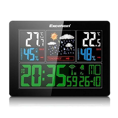 Excelvan Relojes Estaciones meteorológica con Pantalla LED Interior/Exterior inalámbrico con Sensor Exterior (barómetro