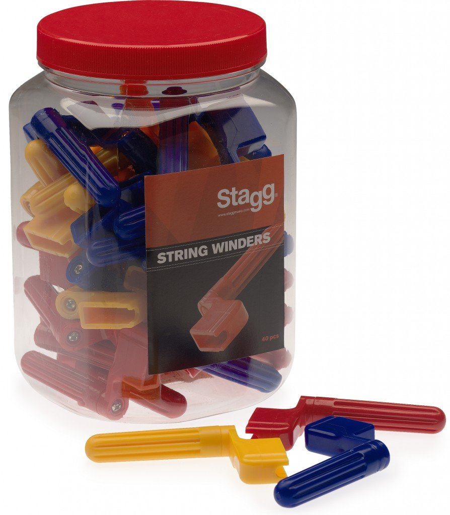 Stagg GSW-40 String Winders Jar Pack of 40 - 3 Assorted Colors