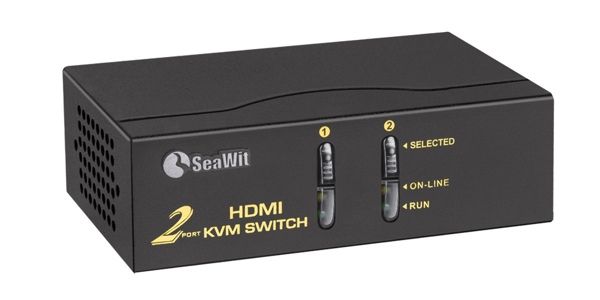 Sea Wit HDMI KVM Switch, 2 Port HDMI Switch with Cable Kit Supports 1080P EDID 3D and Auto Scan (2 in 1 out)