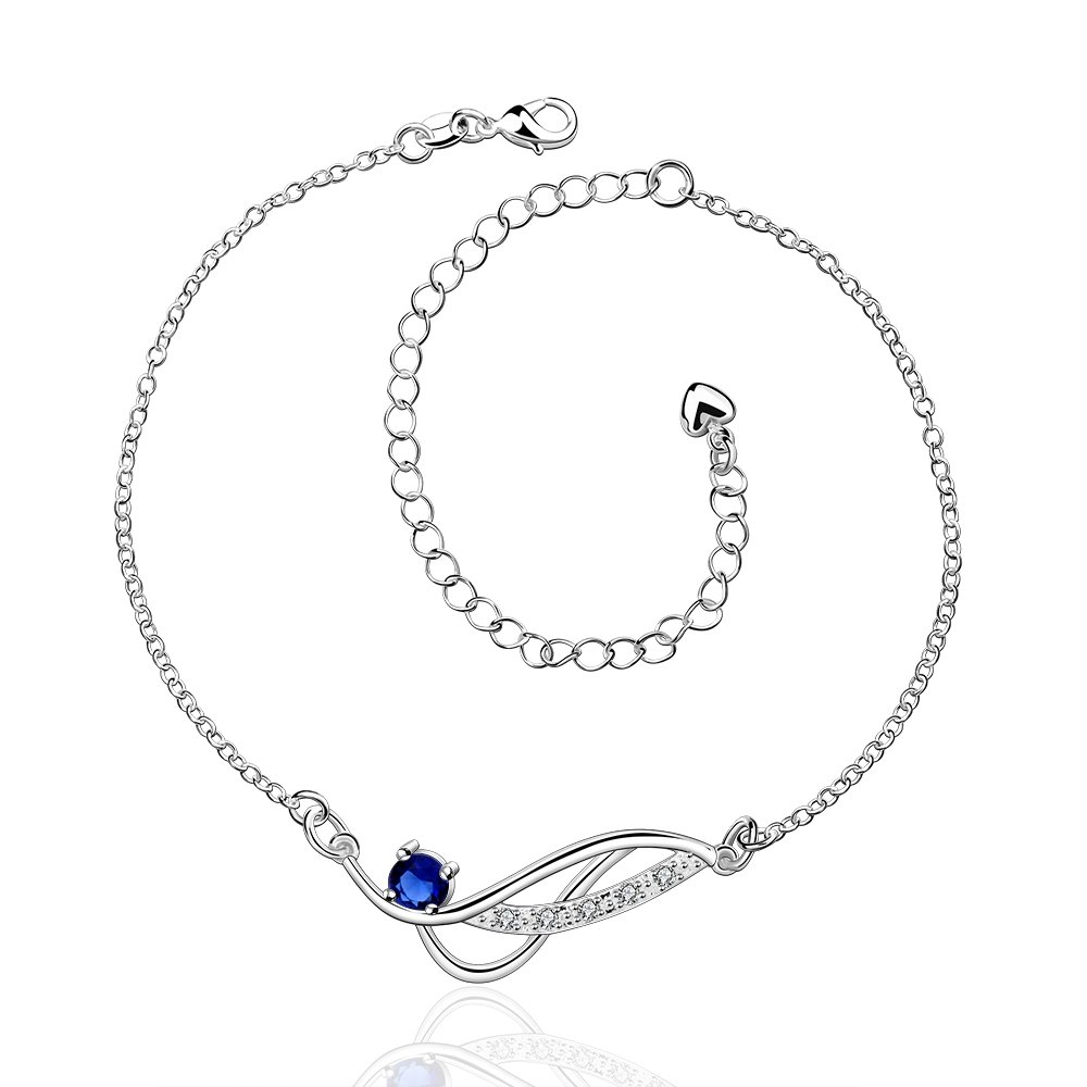 Xiaodou Diamond Anklet Crystal Foot Bracelet Sandals Beach Feet Anklet 925 Silver Infinite Anklet Chain for Women Girls (Blue)