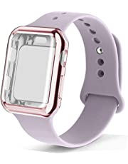 RUOQINI Smartwatch Band with Case Compatiable for Apple Watch Band, Silicone Sport Band and TPU Case for Series 5/4/3/2/1