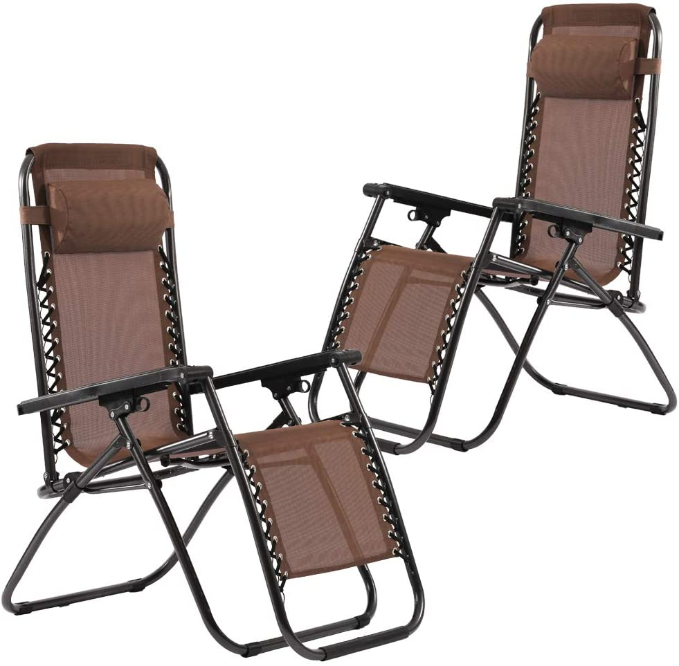 Set of 2 Zero Gravity Chairs Lounge Patio Chairs Outdoor Yard Beach (Brown)