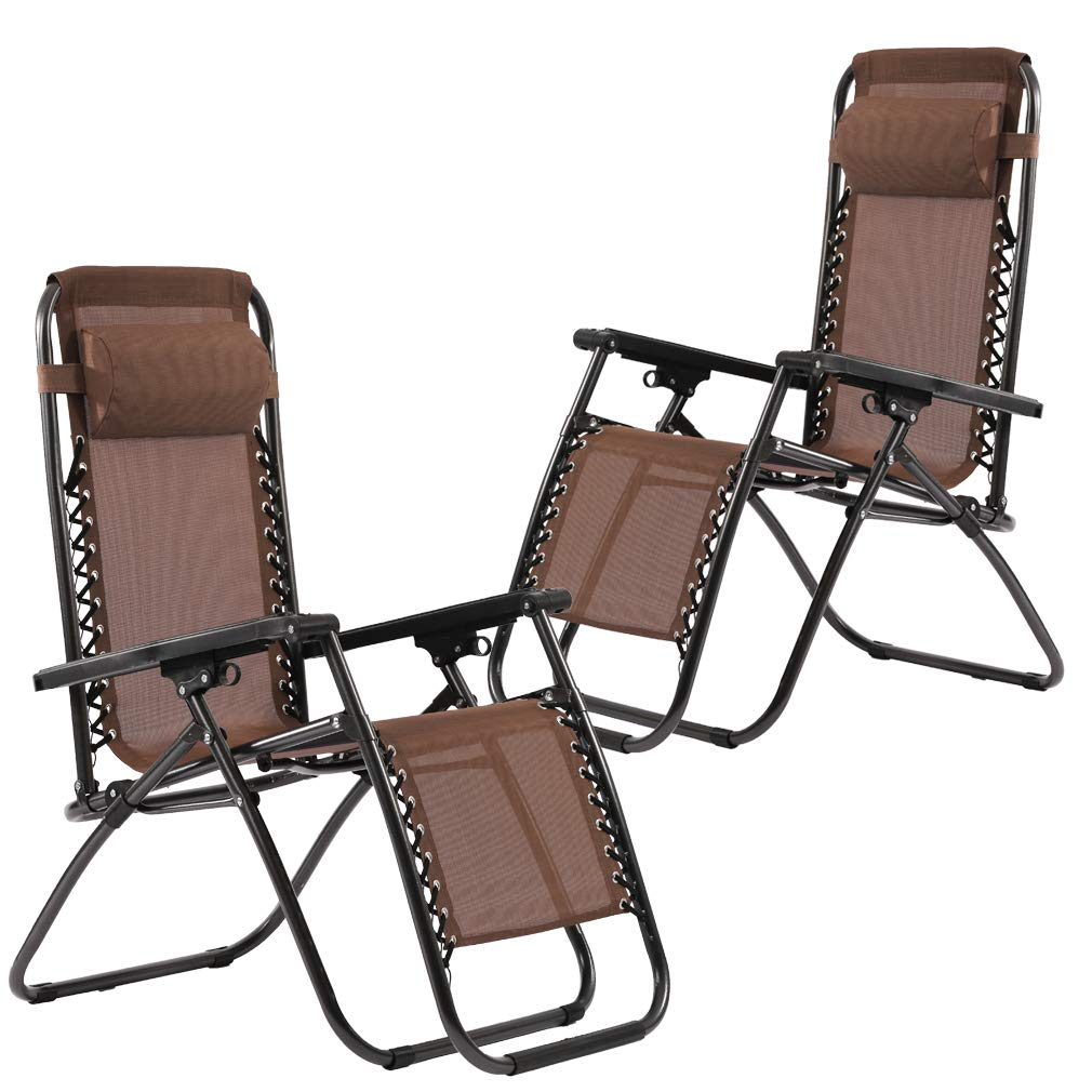 Set of 2 Zero Gravity Chairs Lounge Patio Chairs Outdoor Yard Beach (Brown) by FDW