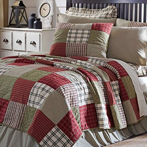 OV 1 Piece Green Khaki Block Tan Patchwork Quilt Queen, Brick Red, Sage White Plaid Floral Checkered Tartan Lumberjack Lodge Gingham, Reversible Shabby Chic Bedding Bedroom, Cotton