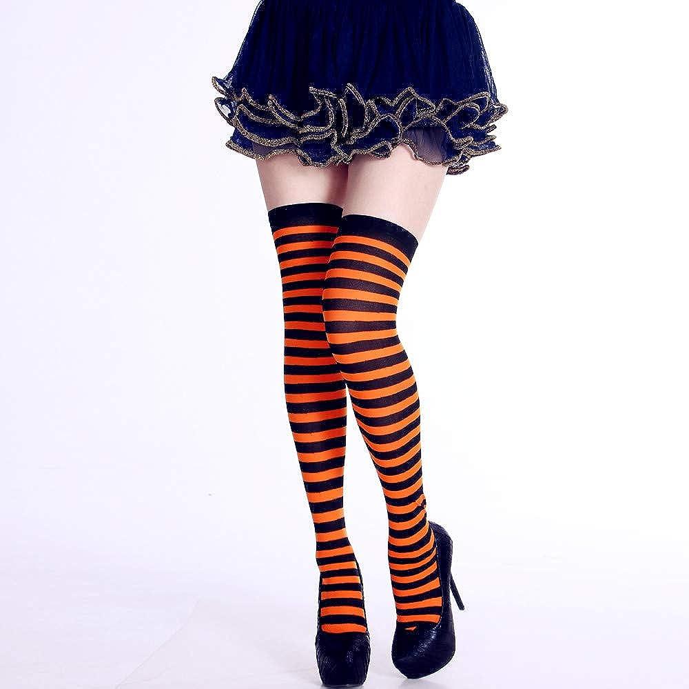 DOGZI Calcetines hasta la rodilla, Mujer Tejer Algodón Sobre la rodilla Calcetines largos A rayas Muslo alta media Calcetines: Amazon.es: Ropa y accesorios