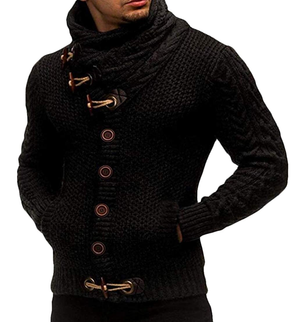 GRMO Men Pockets Winter Turtleneck Knitted Buttons Sweater Cardigan