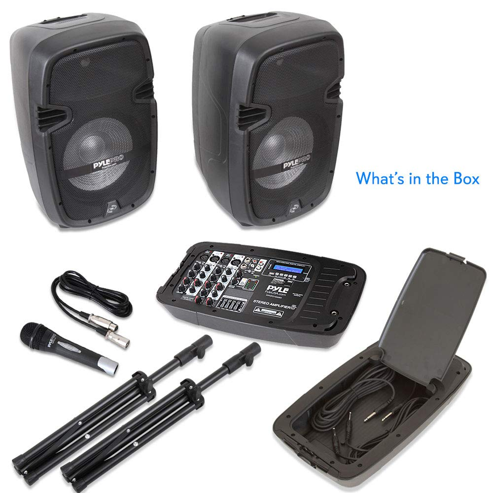 PA Speaker DJ Mixer Bundle - Portable Wireless Bluetooth Sound System with USB SD  XLR 1/4'' RCA Inputs, LED Lights - Dual Speaker, Mixer, Microphone, Stand, Cable - Home / Outdoor - Pyle PPHP210AMX by Pyle (Image #8)