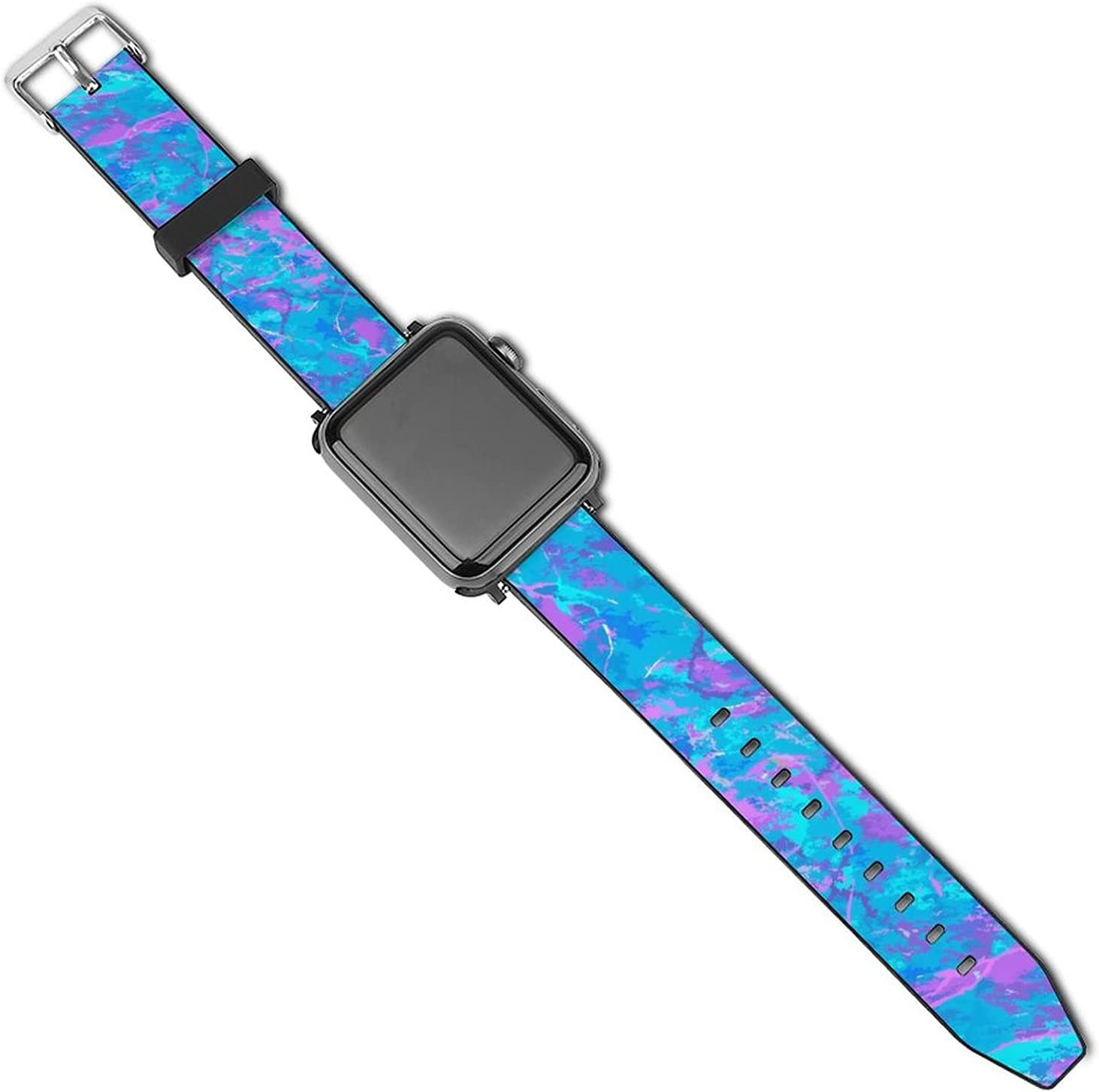 NiYoung Modern Ultraviolet Fluid Background Fantasy Watch Band Compatible with Apple Watch 38mm 40mm 42mm 44mm Leather Watch Sport Replacement Strap Compatible for iWatch Series 5 4 3 2 1