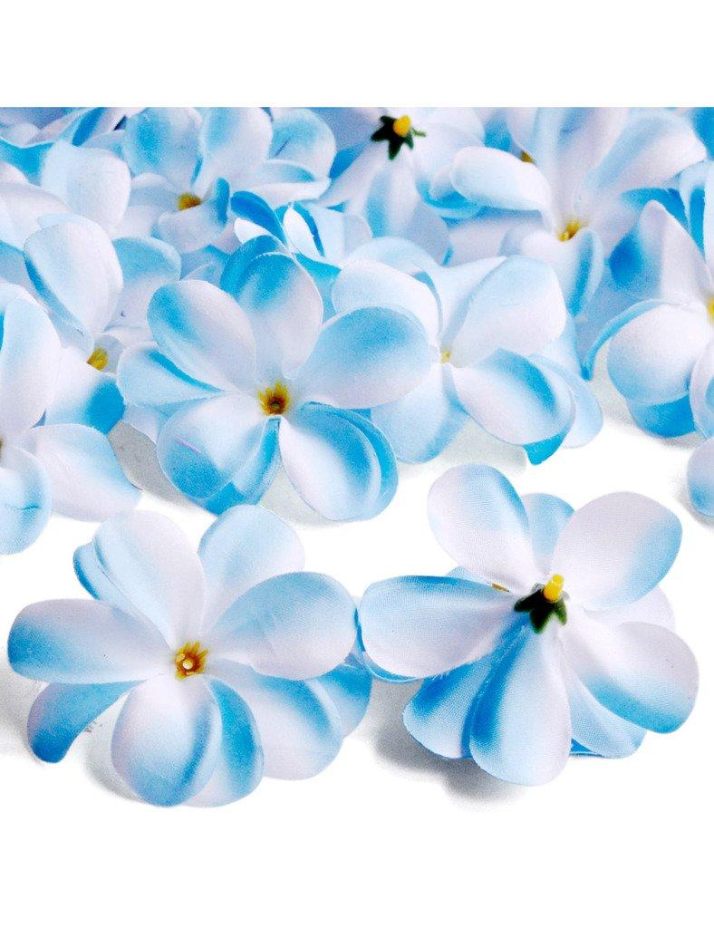 freshheart 50個75 x 35 mm人工プルメリアヘッドウェディングパーティー装飾 75x35mm ブルー B01IDAQ700 Blue Mix White 75x35mm