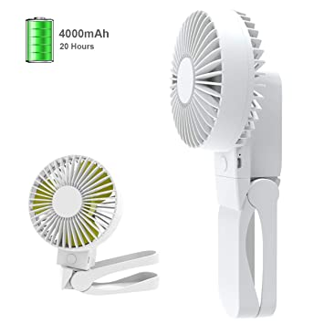Clip On Stroller Fan USB Desk Fan with 4000mAh Rechargeable Battery, 4 Speeds Portable Handheld Fan for Outdoor Traveling Camping Gym and Home Office, ...