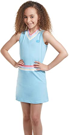 Amazon Com Ropa De Tenis Y Golf Para Nina Vestido De Tenis Sin Mangas Con Cuello En V Con Pantalones Cortos Clothing