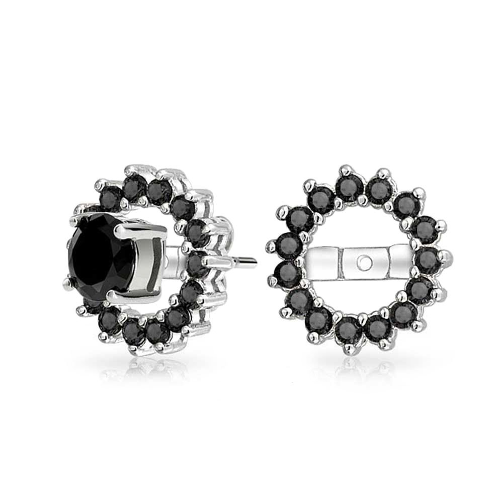 .925 Silver Simulated Onyx CZ Halo Earring Jackets For Studs