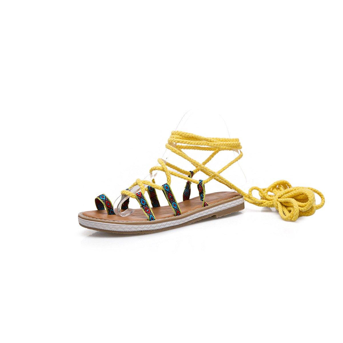 Unbekannt Damen Sandalen Gelb Toe Flachbild Kreuzbänder Wild Römische Schuhe Gelb Sandalen 41 9721f1