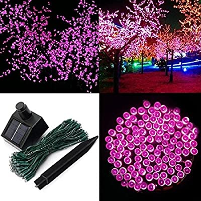 1 Pcs Sublime Popular 200x LED Solar Power Nightlight String Fairy Waterproof Strip Gift Colors Pink
