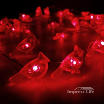 Christmas String Lights, Impress Life Red Snow Bird Silver Plated Wire 10  Ft 50 LEDs