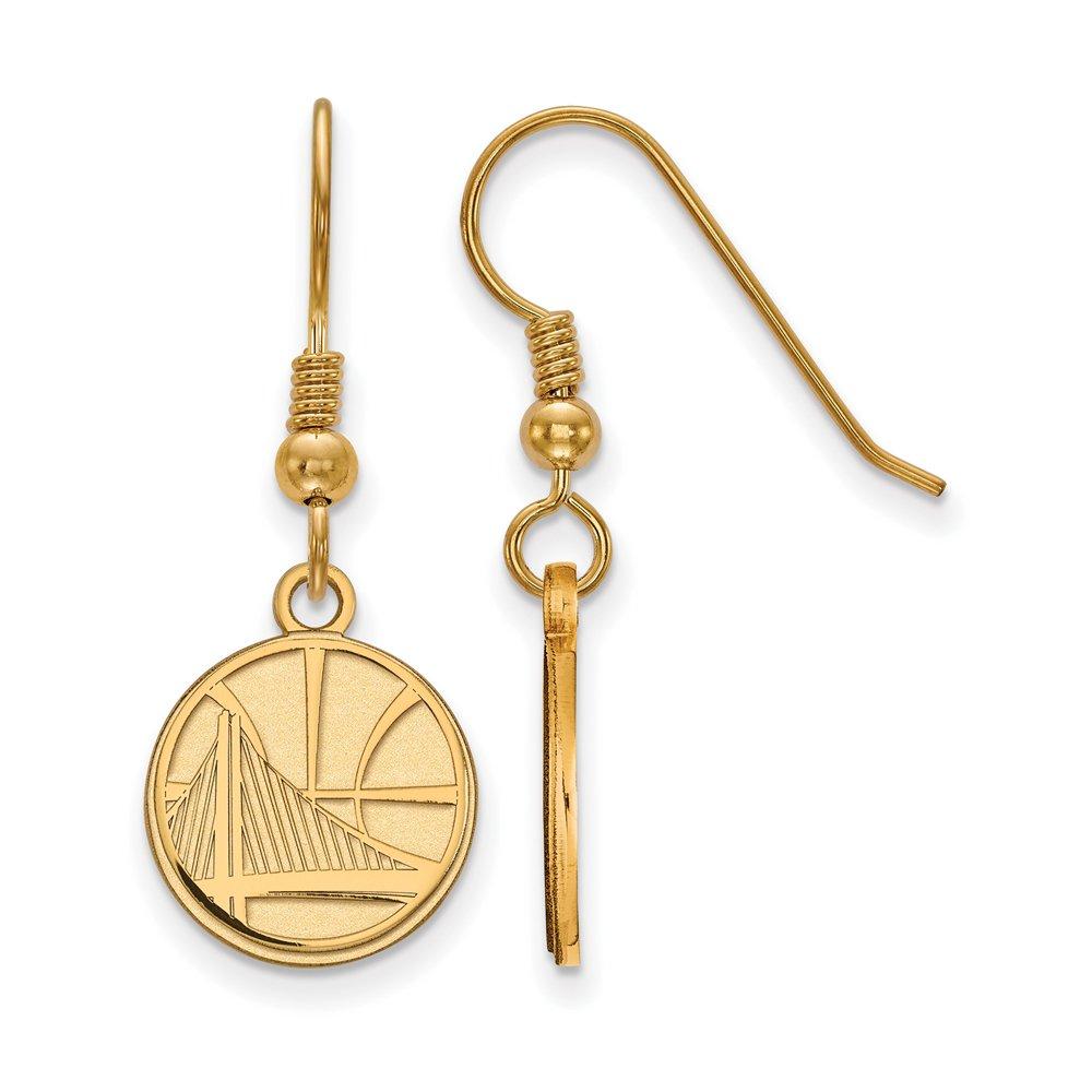 LogoArt NBA 14k Yellow Gold Plated Sterling Silver Golden State Warriors Wire Earrings