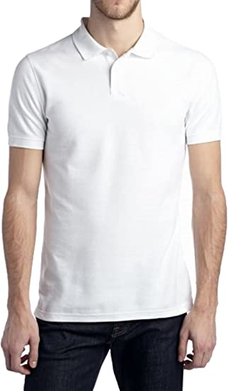 7a16781a815 Saddlebred Men s Short Sleeve Tailored Fit Solid Pique Polo (White ...