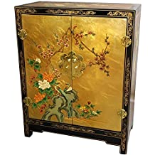 Oriental Furniture Small Liquor Wine Cabinet Idea, 30-Inch Ming Lacquered Oriental Shoe Cabinet Chest, Gold Leaf