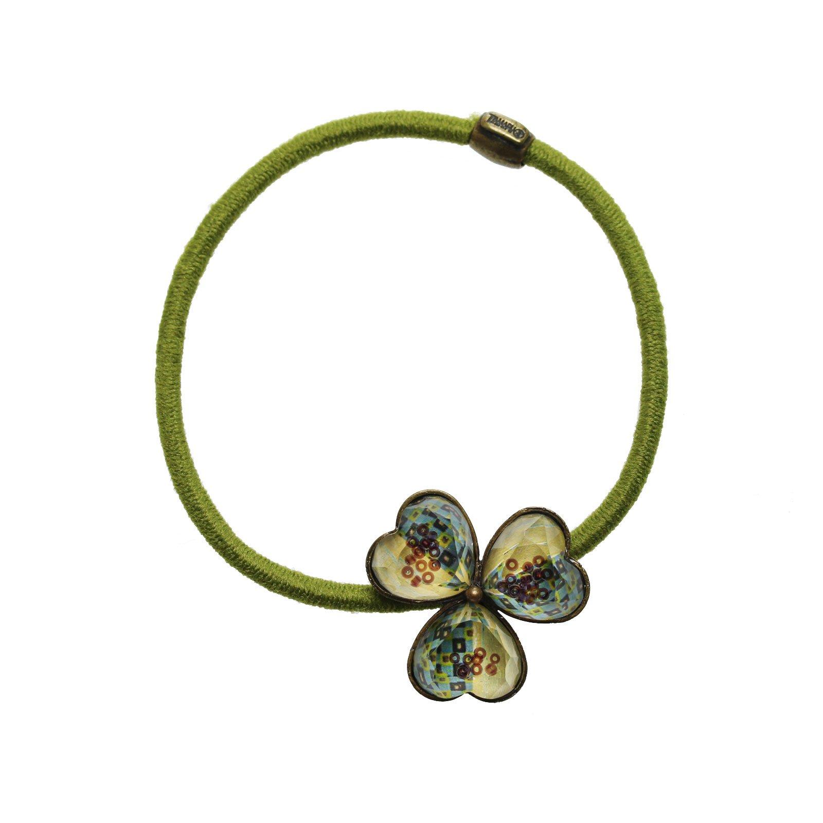 Tamarusan Ponytail Holder Hair Green Elegance Carpet Pattern Hair Ornament Flower