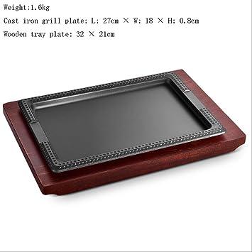 Plato rectangular de hierro fundido para parrilla de carne ...