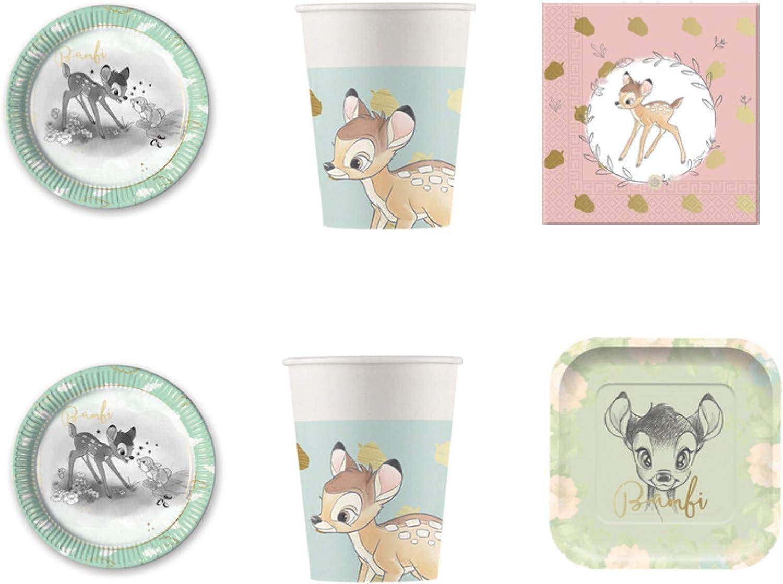 Party Store Web by Hogar dulce Hogar Bambi texto Disney juego de decoración de fiesta – kit N ° 21 de vajilla (8 platos 23 cm ,4 platos Cuadrados, 8 Vasos, 20 servilletas): Amazon.es: Juguetes y juegos