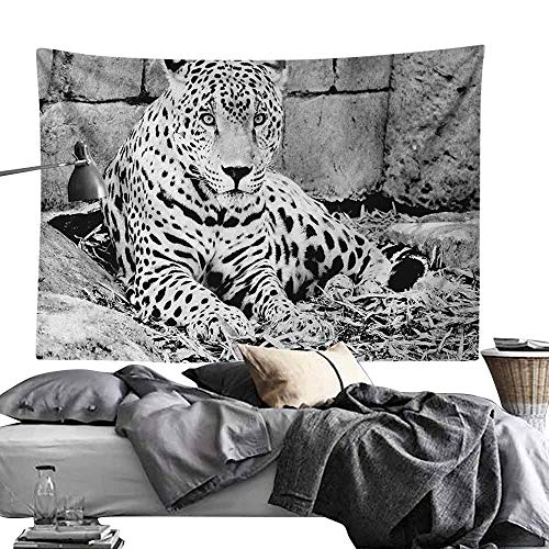 Maureen Austin Decor Tapestry Black and White,Jaguar Wild Big Cats Theme Feline with Dots Body Fur Jungle Tiger Leopard, Black White,Tapestry for Bedroom Living Room Dorm Room 47