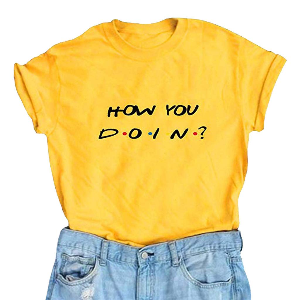 Women T Shirts,Summer Funny Short Sleeve Blouse Letter Cute Junior Top Graphic Tunics Vest for Jeans Leggings Skirt Yellow