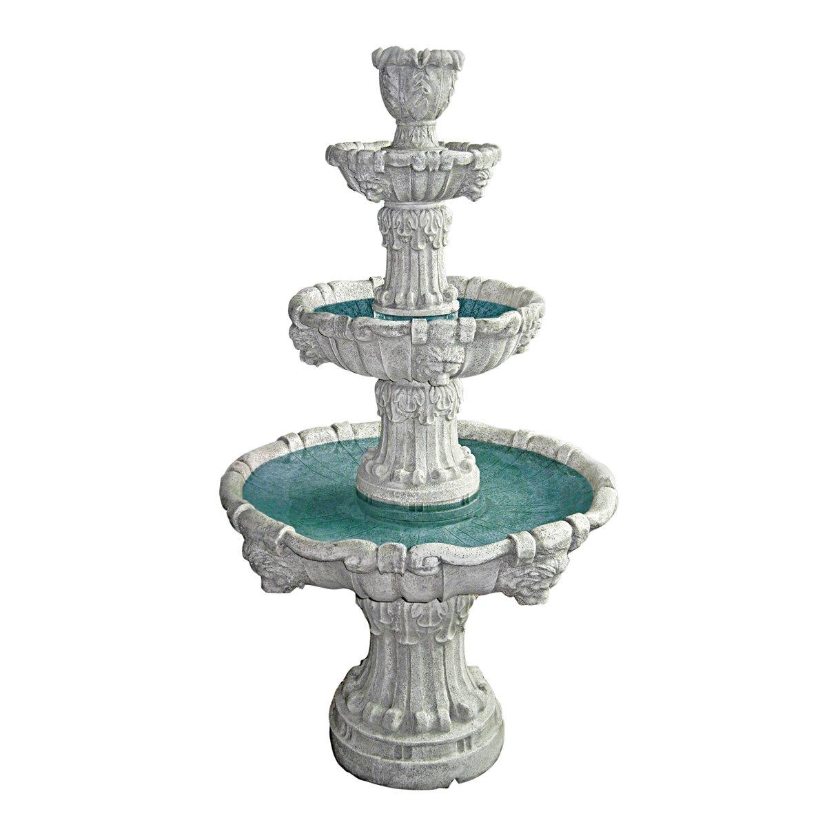 Design Toscano Medici Lion Four-Tier Fountain, Antique Stone