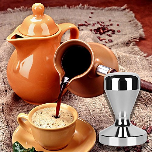 Kangkang@ 51mm Diameter Stainless Steel Espresso Coffee Bean Tamper Pressure Powder Hammer Flat Base Grip Handle Bar Kitchen Coffee Coffe Tools