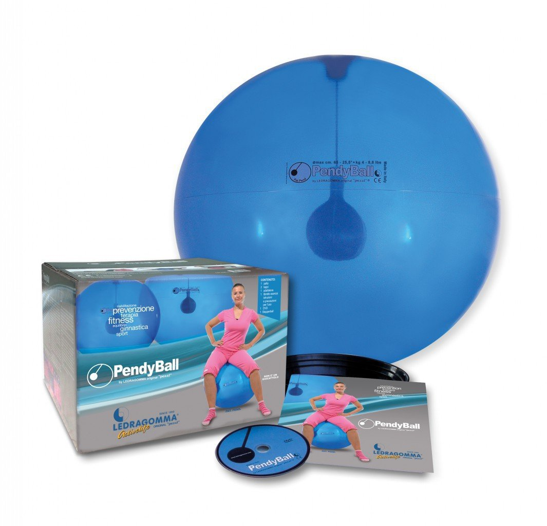 PendyBall by Ledragomma original 'pezzi' / blau-transp. Gymnastikball / Pendel (4 kg) im Inneren Ø 55 cm / Trainingsgerät Reha Rumpfmuskeln