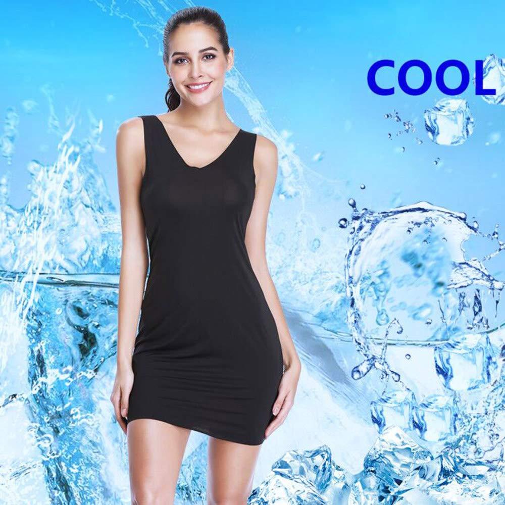 Full Slips for Women Long Body Shaping Cami Slip Seamless Slimming Deep V Slip Under Dresses Joyshaper