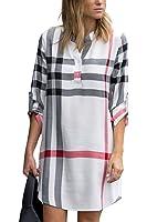 ESONLAR Women Plaid V Neck Roll Up Sleeve Long Blouse High Low Mini Shirt Dress