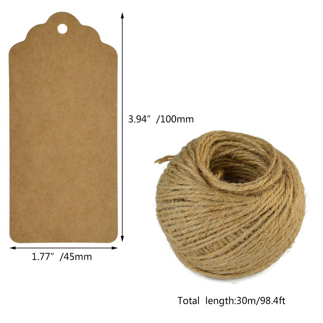200 Pcs Gift Tags Kraft Paper Tag Brown Gift Kraft Tag DIY Tags Rectangle Craft Hang Tags Price Tags White Favor Name Tags Card with Heart +2pcs 100 Feet Natural Jute