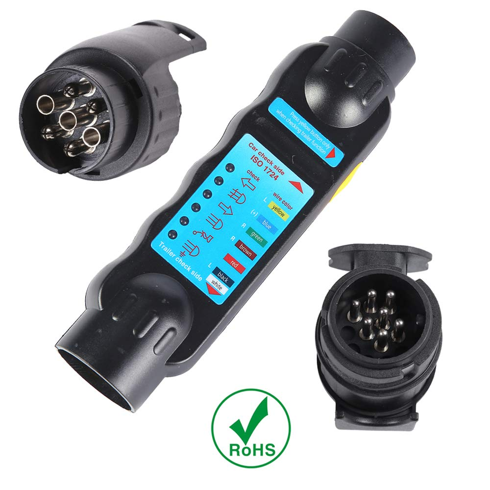 13 pin trailer tester AOHEWEI 13 Pin Trailer Lights Plug and Socket Tester 12V Wiring Circuit Electrics Diagnostic Connector for Towing Car Caravan